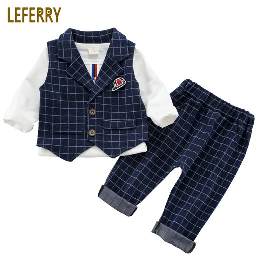 Baby Boy Suit Set 3PCS Kids Clothes Boys Baby Clothing Sets Vest Shirt Pants Toddler Boys Clothes Set Wedding Outfits Birthday