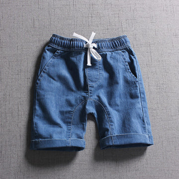 High Quality Children Boys Shorts Classic Preppy Style Elastic Waist Solid Denim Shorts