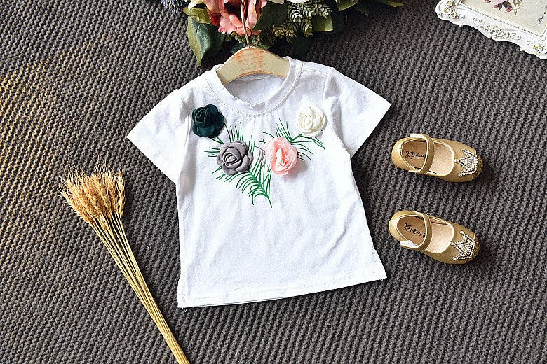 Kids Summer Set Girls Short Sleeves T-shirt+ Skirt