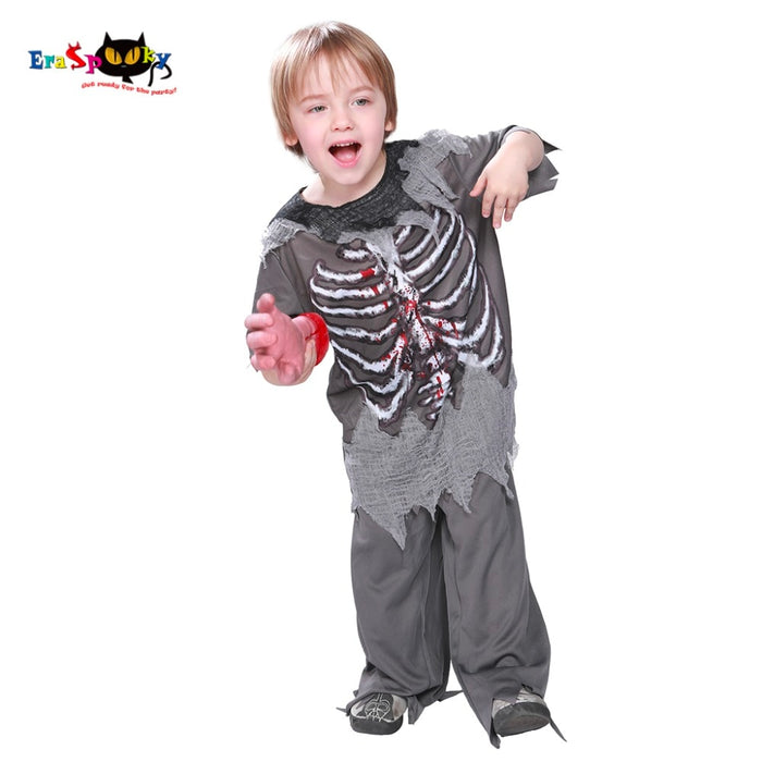 Skeleton Bloody Zombie Boy Halloween Costume For Kids