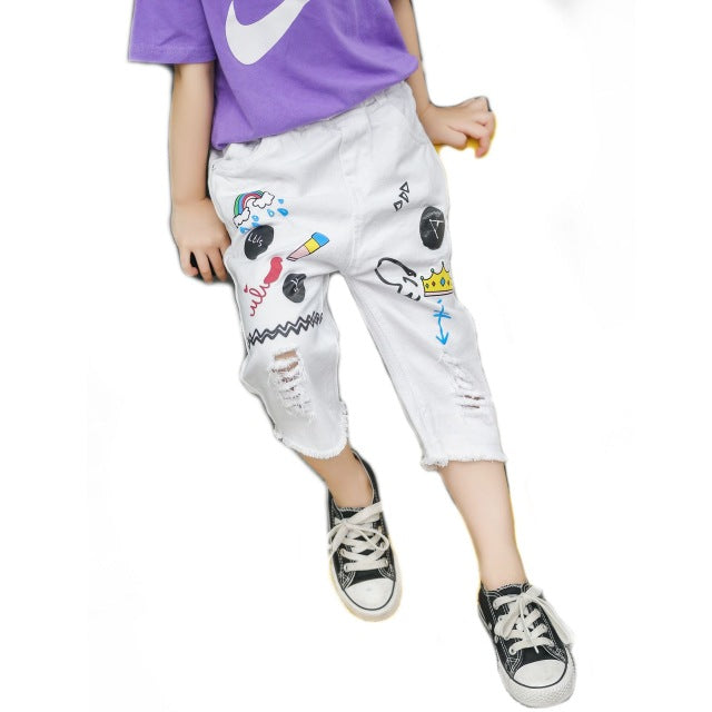 Summer Style Kids Pants Capri Denim Pants
