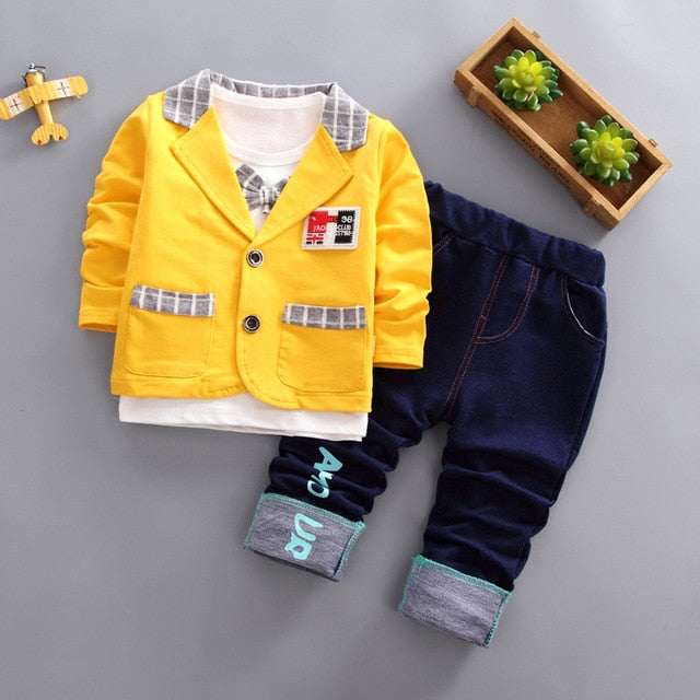 Kids Boys shirt+coat+pant party clothing Set