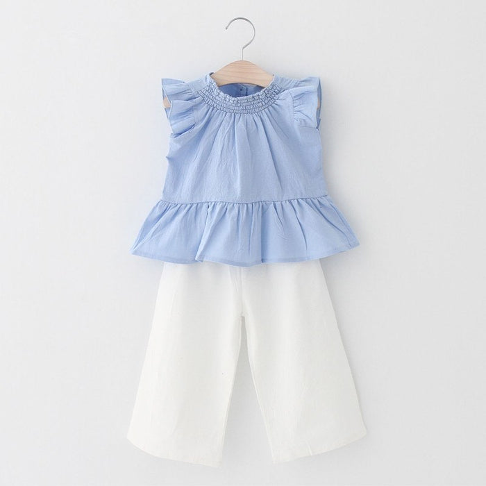 Baby Girl Top Sleeveless Casual Ruffle Pants Clothing Set