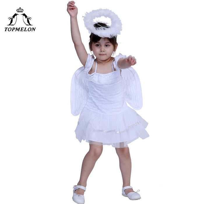 White Angel Cosplay halloween Costumes for Girls kids