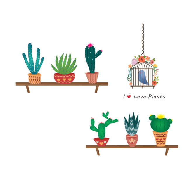 vivid garden potted plants cactus wall stickers for kids
