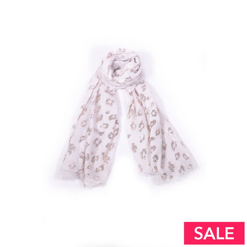 Cream/rose Gold Leopard Print Scarf Cream