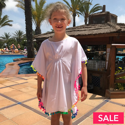 Girls White Rainbow Pom Beach Kaftan