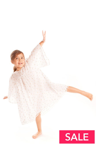 Gold Palm Tree Girls Kaftan 8-9 Yrs Beachwear