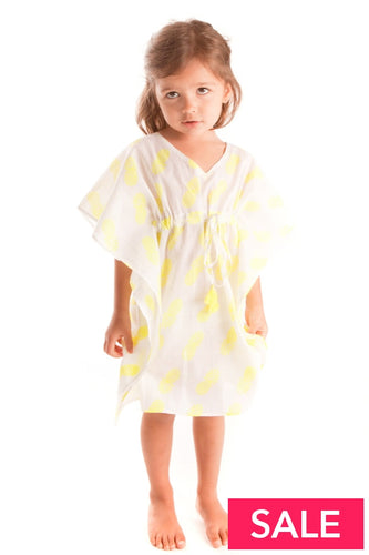 Lily Neon Yellow Pineapple Girls Kaftan 8-9 Yrs