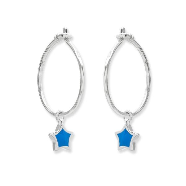 Cobalt Blue Silver Hoop Earrings