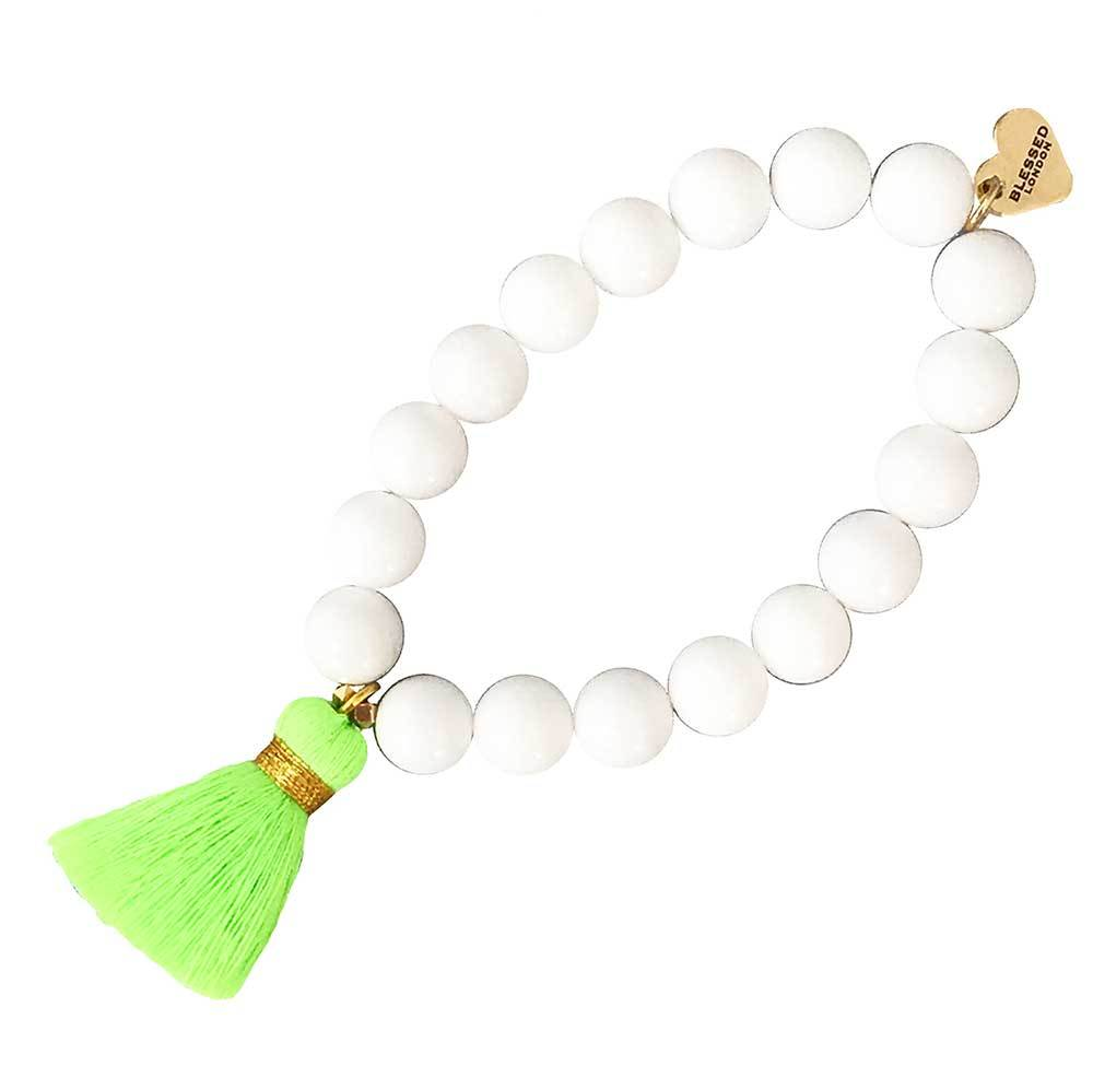 Neon Tassel Beaded Bracelet Green