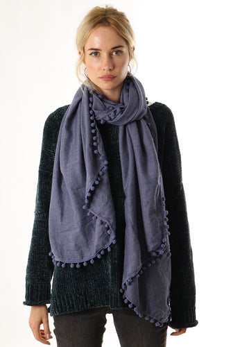 Pom Pom Scarf Denim Blue