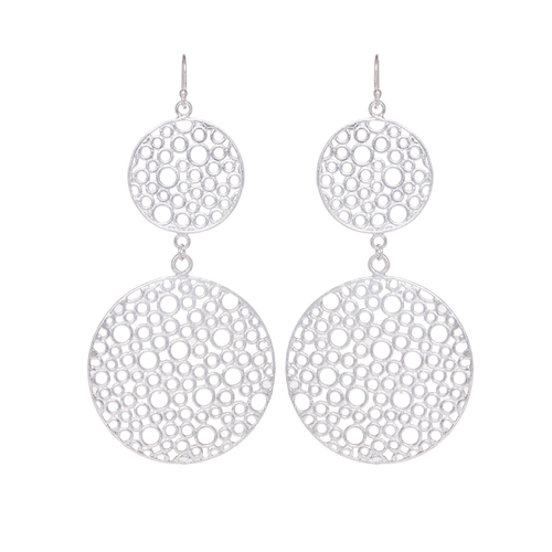 Double Bubble Earrings Silver