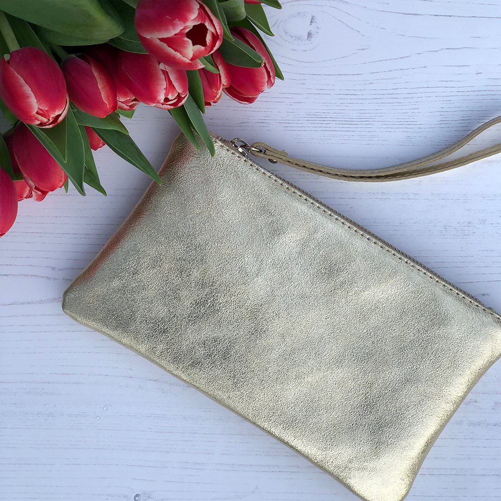 Metallic Leather Clutch Gold