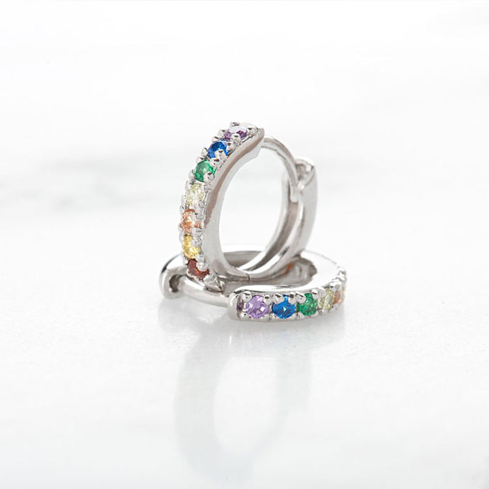 Huggie Hoop Rainbow Earrings - Silver