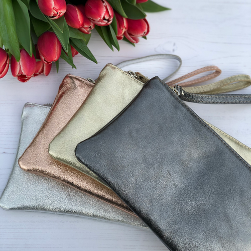 Metallic Leather Clutch - 4 colours