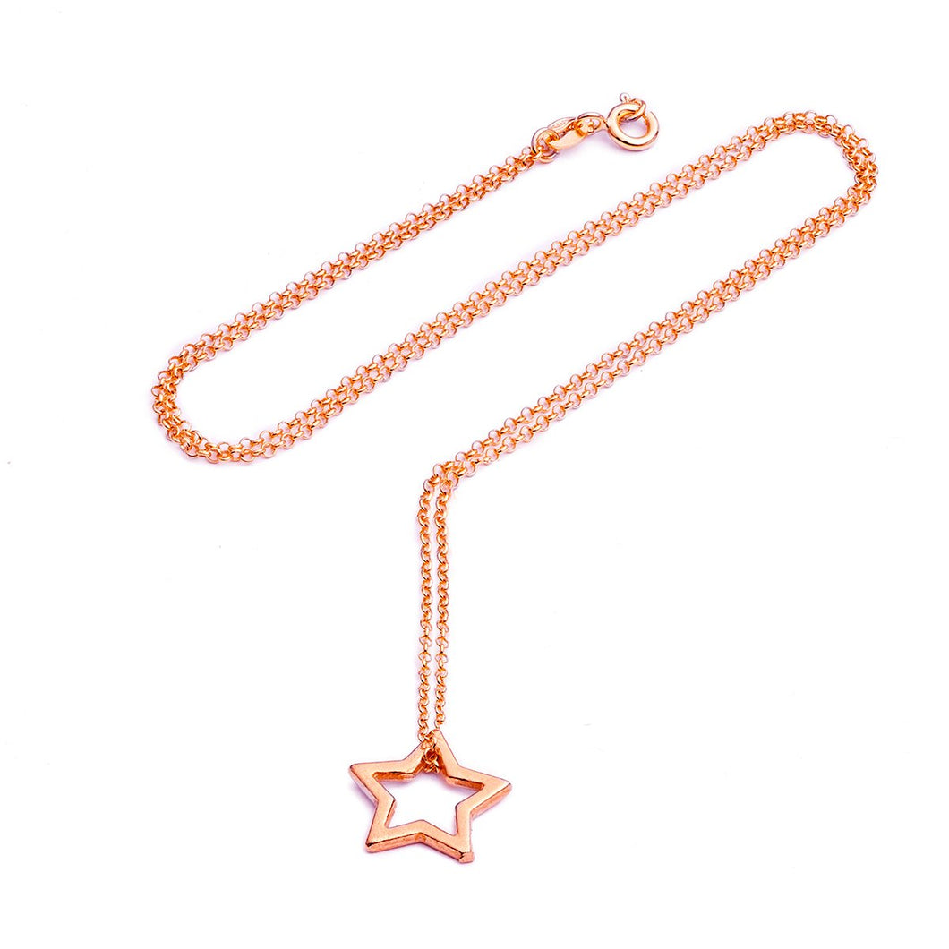 Open Star Necklace Rose Gold