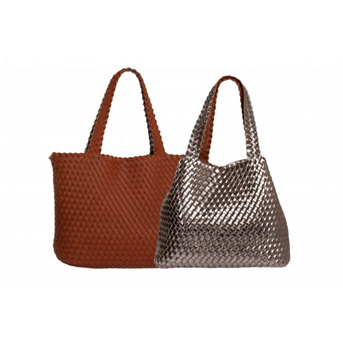 Reversible Pewter/Tan Beach Bag