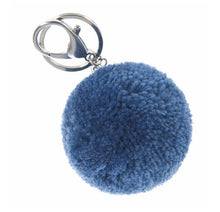 Pom Round Keyring Denim Blue