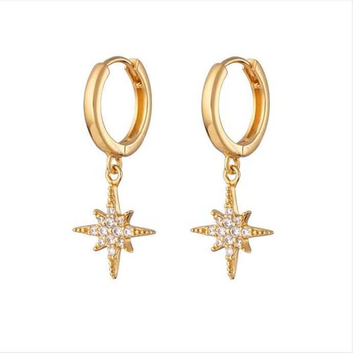 Starburst Hoop Earrings - Silver/Gold