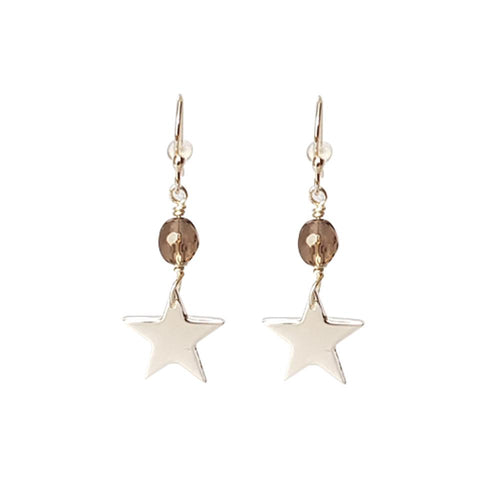 Sterling Silver Star Drop Earrings With Bead Smokey Quartz