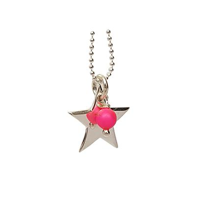 Sterling Silver Star Necklace With Neon Bead Neon Pink Bead