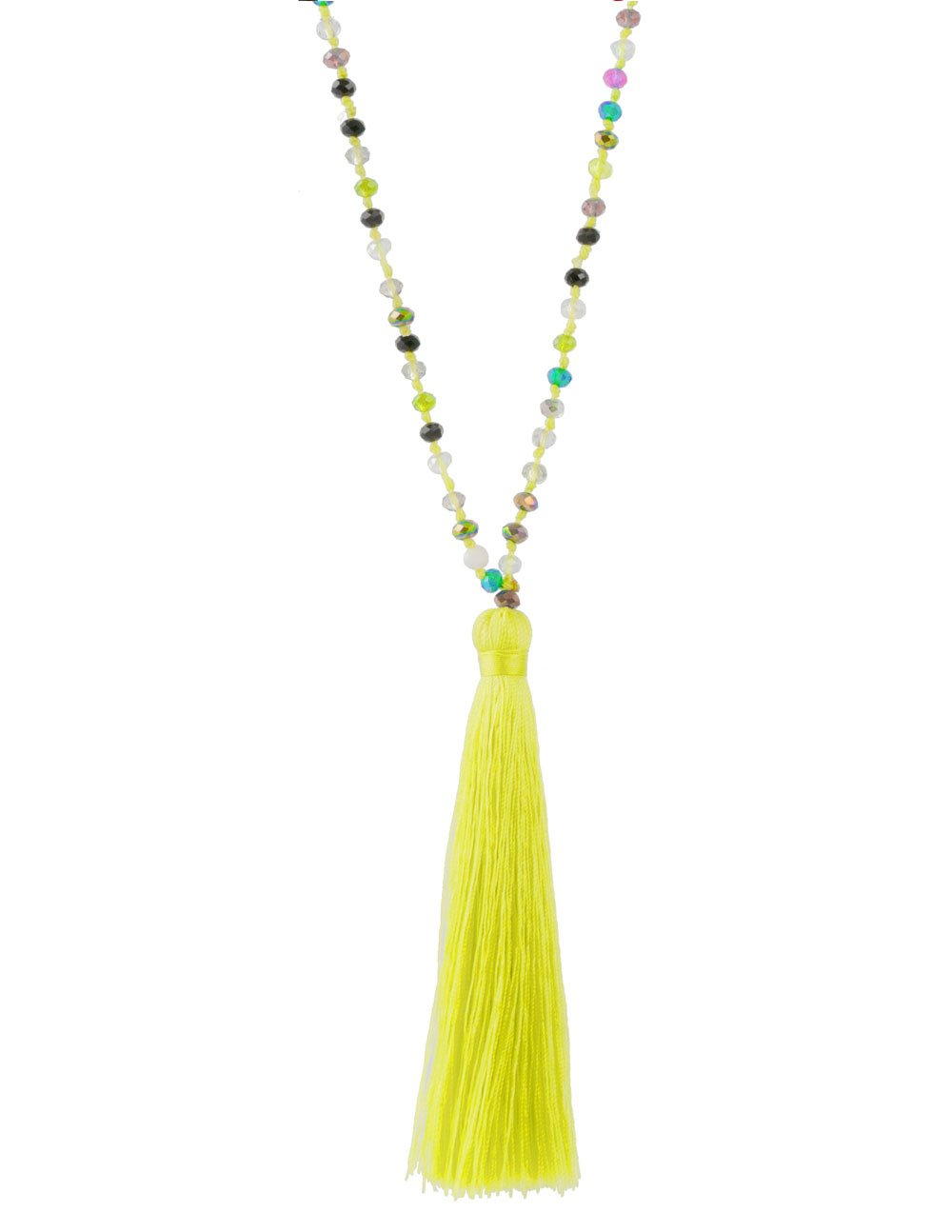 Neon Tassel Necklace Yellow - Multi Bead