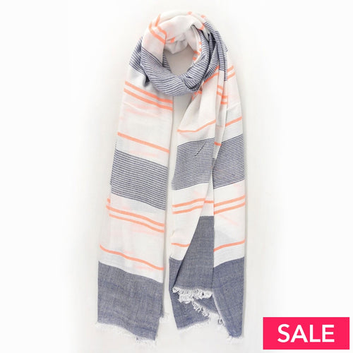 Neon Orange/denim Blue Striped Scarf