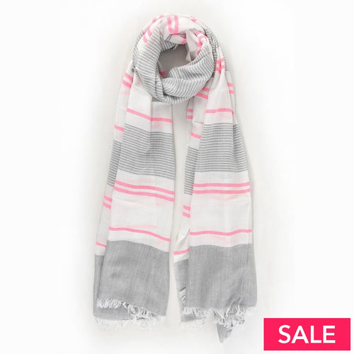 Neon Pink/grey Striped Scarf