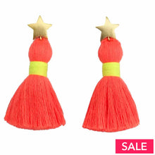 Neon Star Tassel Earrings Pink/yellow