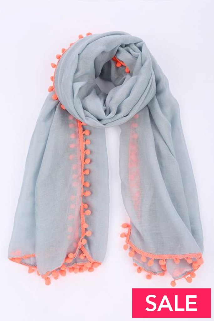 Pom Scarf Grey With Neon Pink