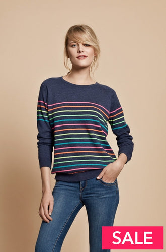 Poppy Rainbow Striped Cashmere Jumper Navy / Small (Uk 8-10)