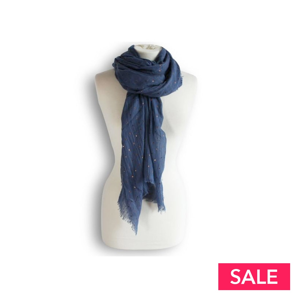 Rose Gold Small Star Print Scarf Denim Blue Scarves