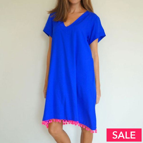 Royal Blue V Neck Fitted Anywhere Dress With Neon Pink Pom Poms Small 10