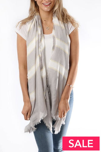 Soft Grey Scarf With White And Gold Glitter Stripes