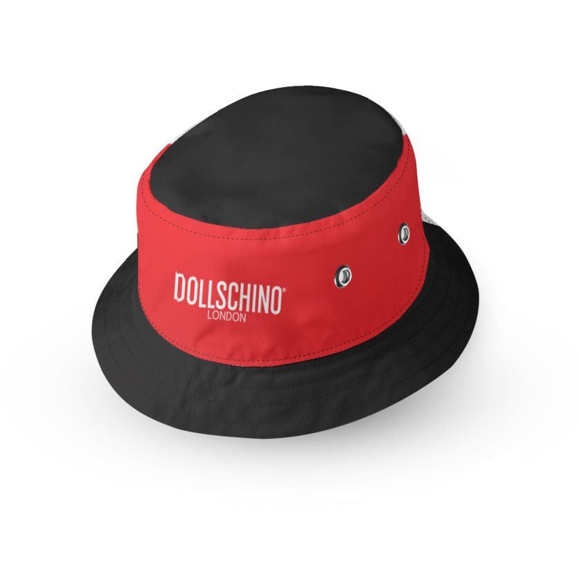 Dollschino London Black & Red Kids Reversible Bucket Hat