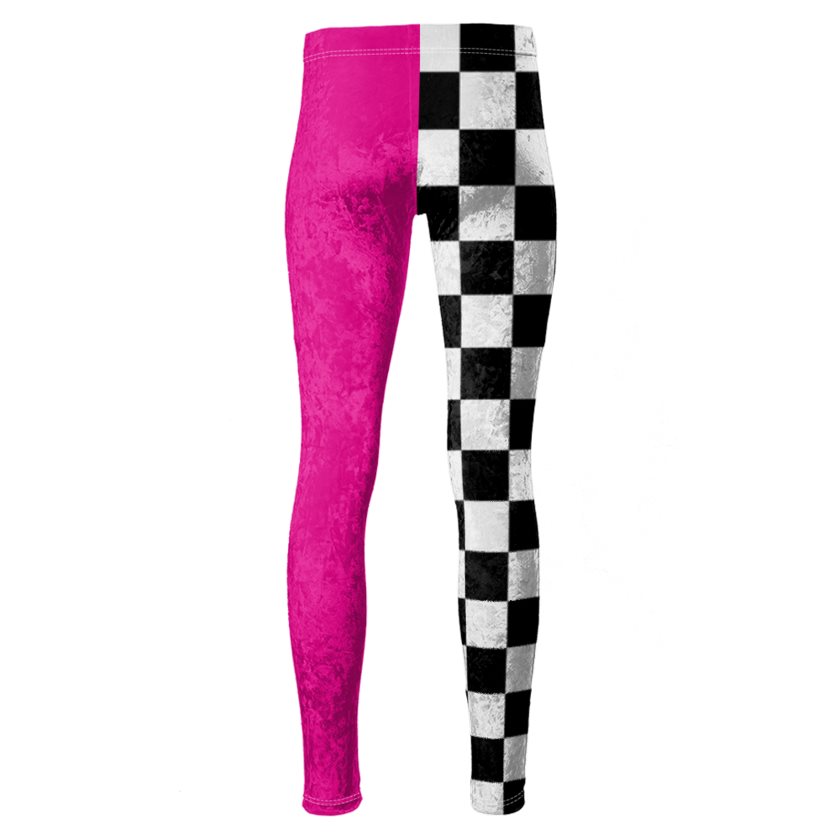 Dollschino London Hot Pink & Checkered Velour Leggings
