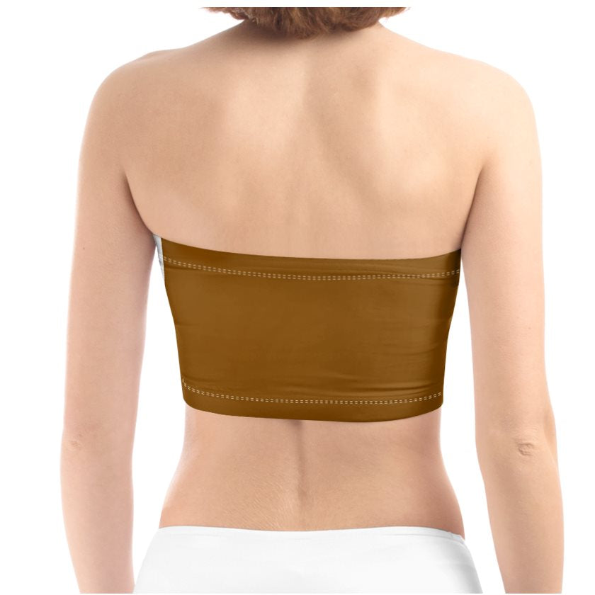 Dollschino Faith Couture Khaki Green & Coffee Brown Bandeau Top