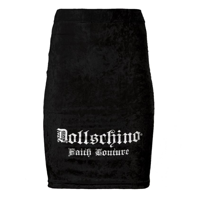 Dollschino Faith Couture Black Velour Pencil Skirt