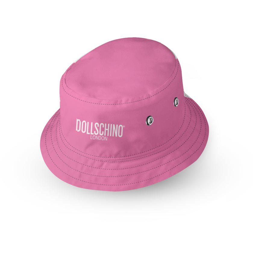Dollschino London Bubblegum Pink & Baby Pink Kids Reversible Bucket Hat