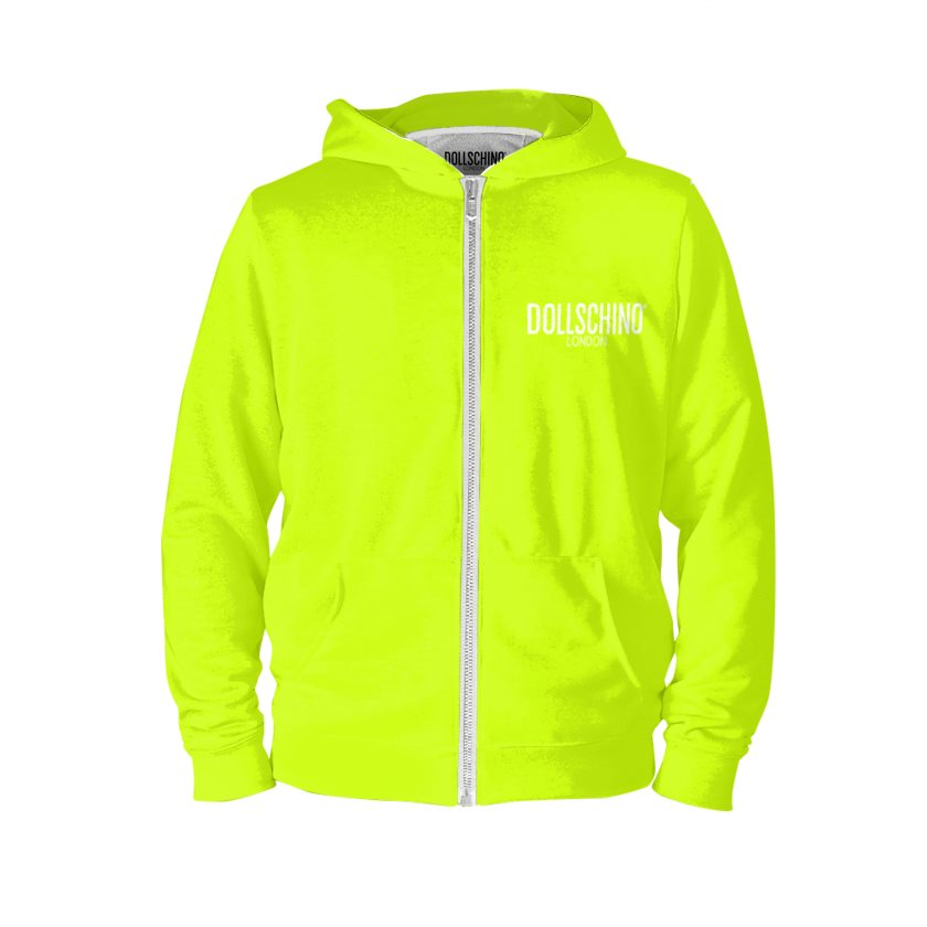 Dollschino London Fluorescent Neon Yellow Zip Hoodie