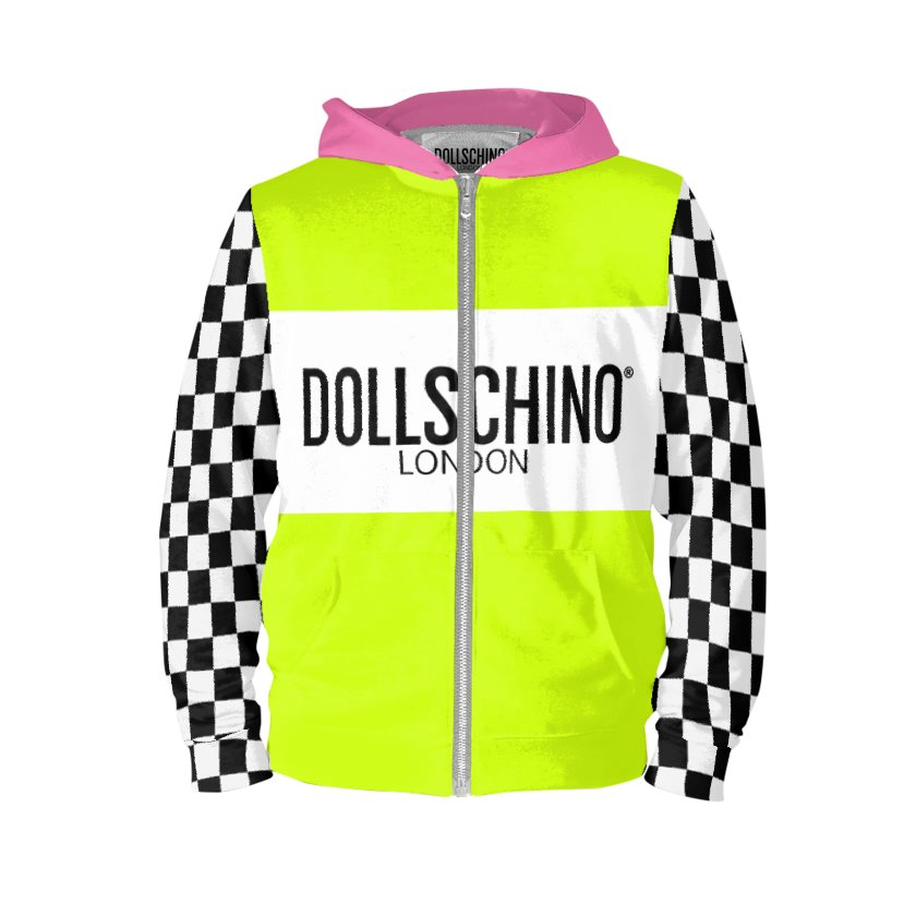 Dollschino London Fluorescent Neon Yellow & Black N White Checkered Baby Pink Zip Hoodie