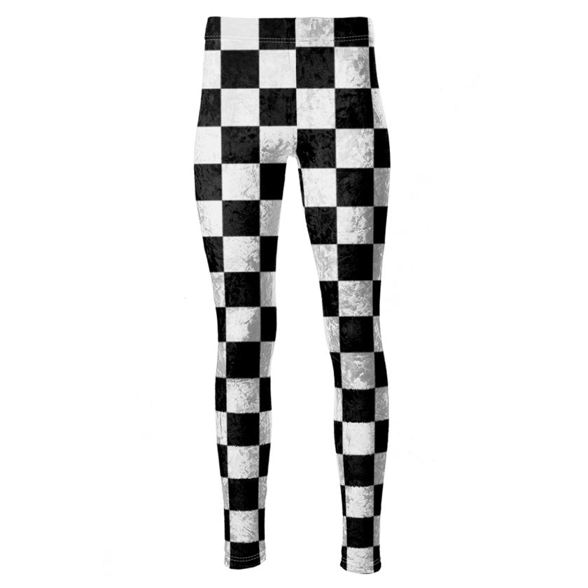 Dollschino London Black N White Checkered Velour Leggings