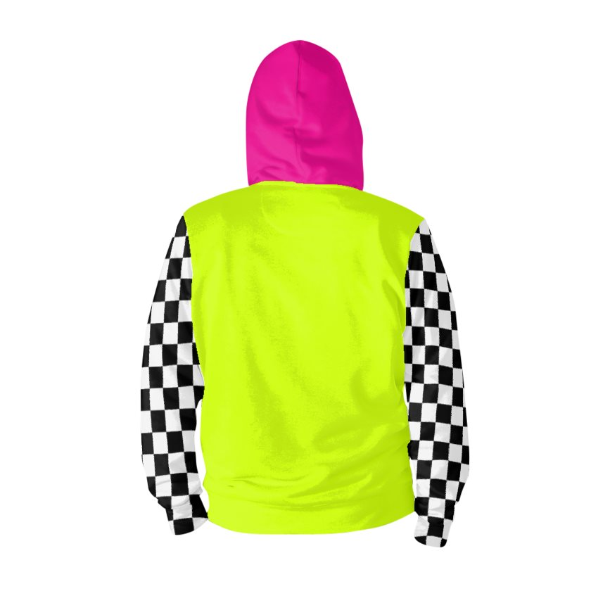Dollschino London Fluorescent Neon Yellow & Black N White Checkered Hot Pink Zip Hoodie