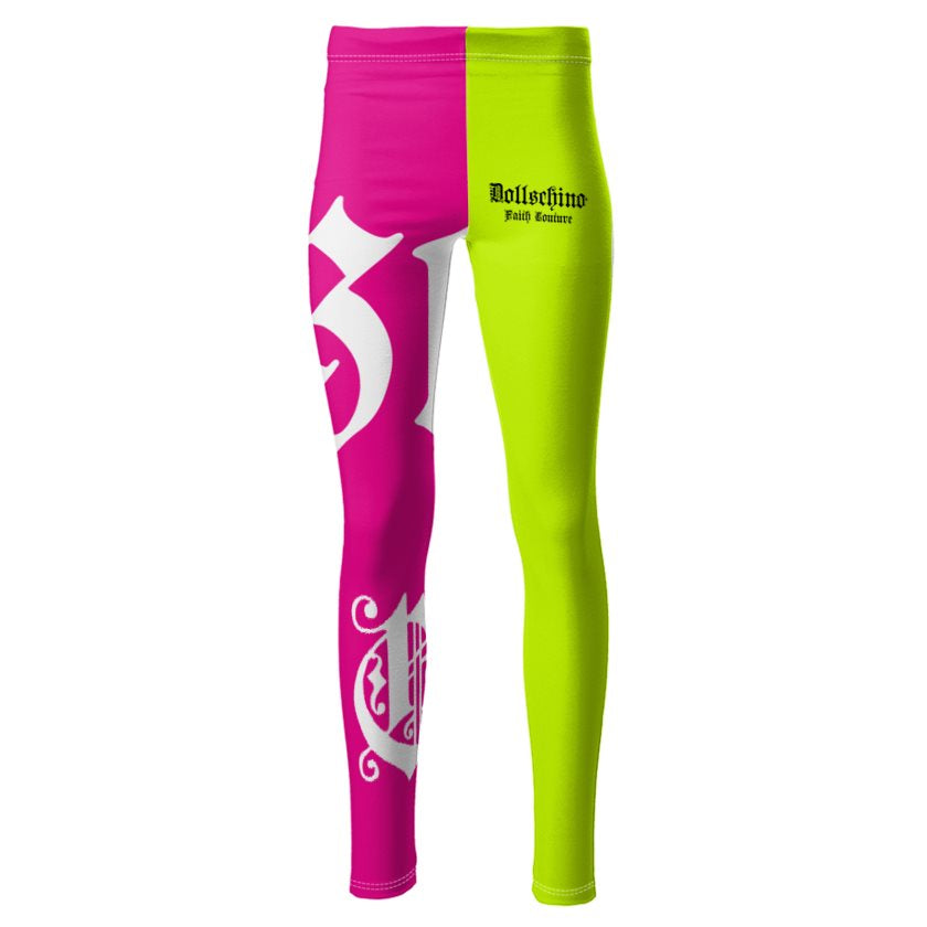 Dollschino London Faith Couture Neon Cocktail Ponte Jersey Leggings