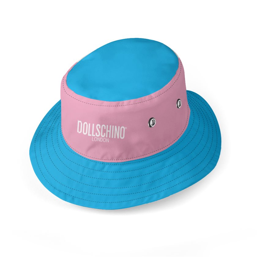 Dollschino London Kids Baby Blue & Baby Pink Reversible Bucket Hat