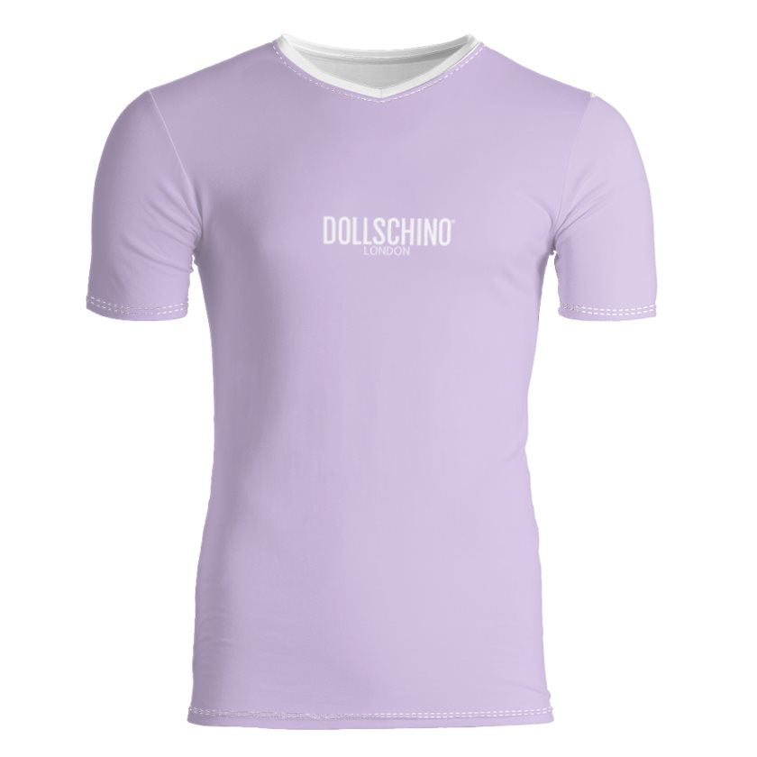Dollschino London Mens Lavender V Neck Slim Fit T-Shirt