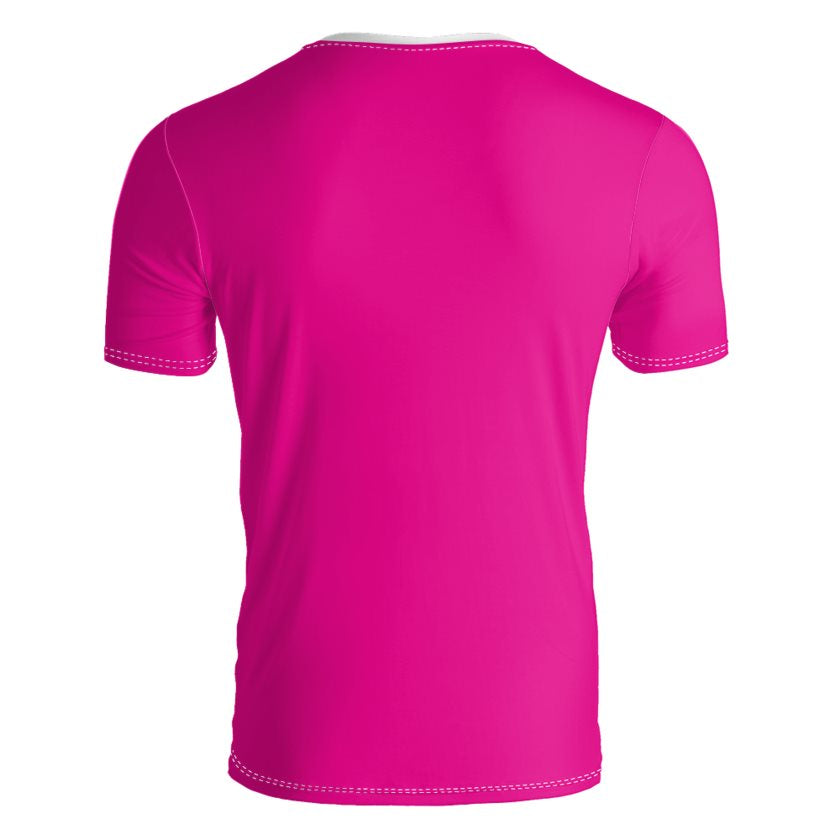 Dollschino London Mens Hot Pink V Neck Slim Fit T-Shirt