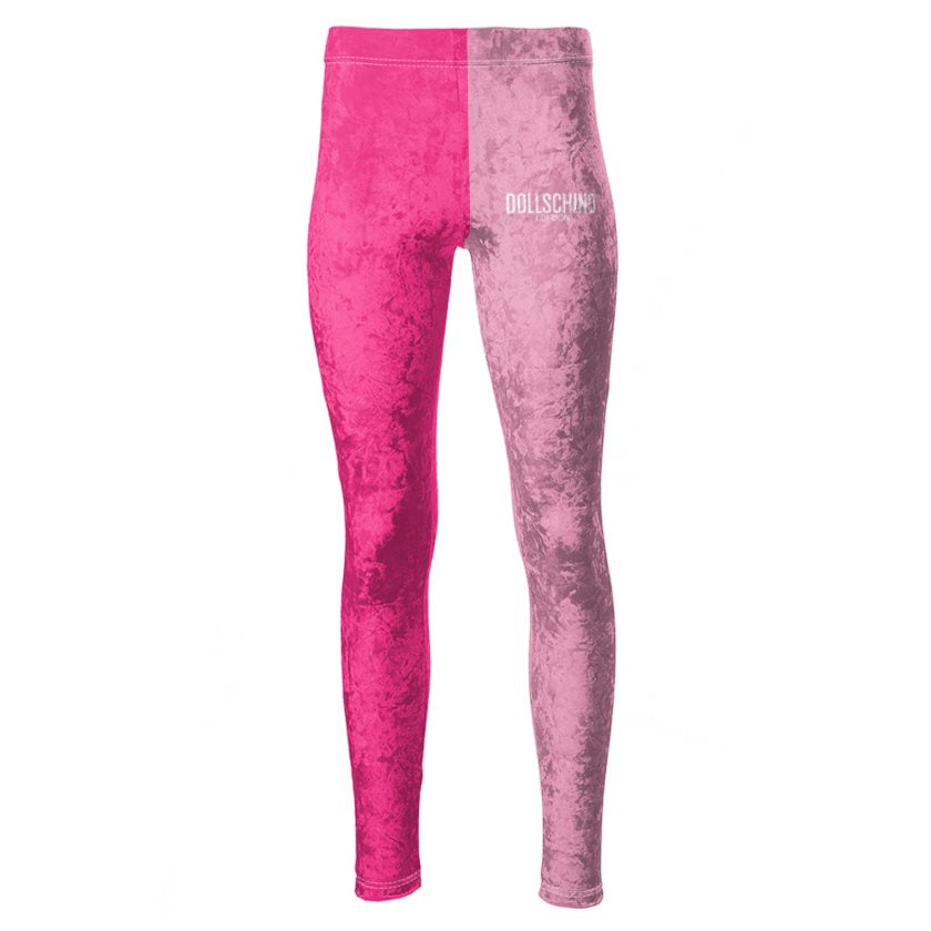 Dollschino London Neon Pink & Hot Pink Velour Leggings