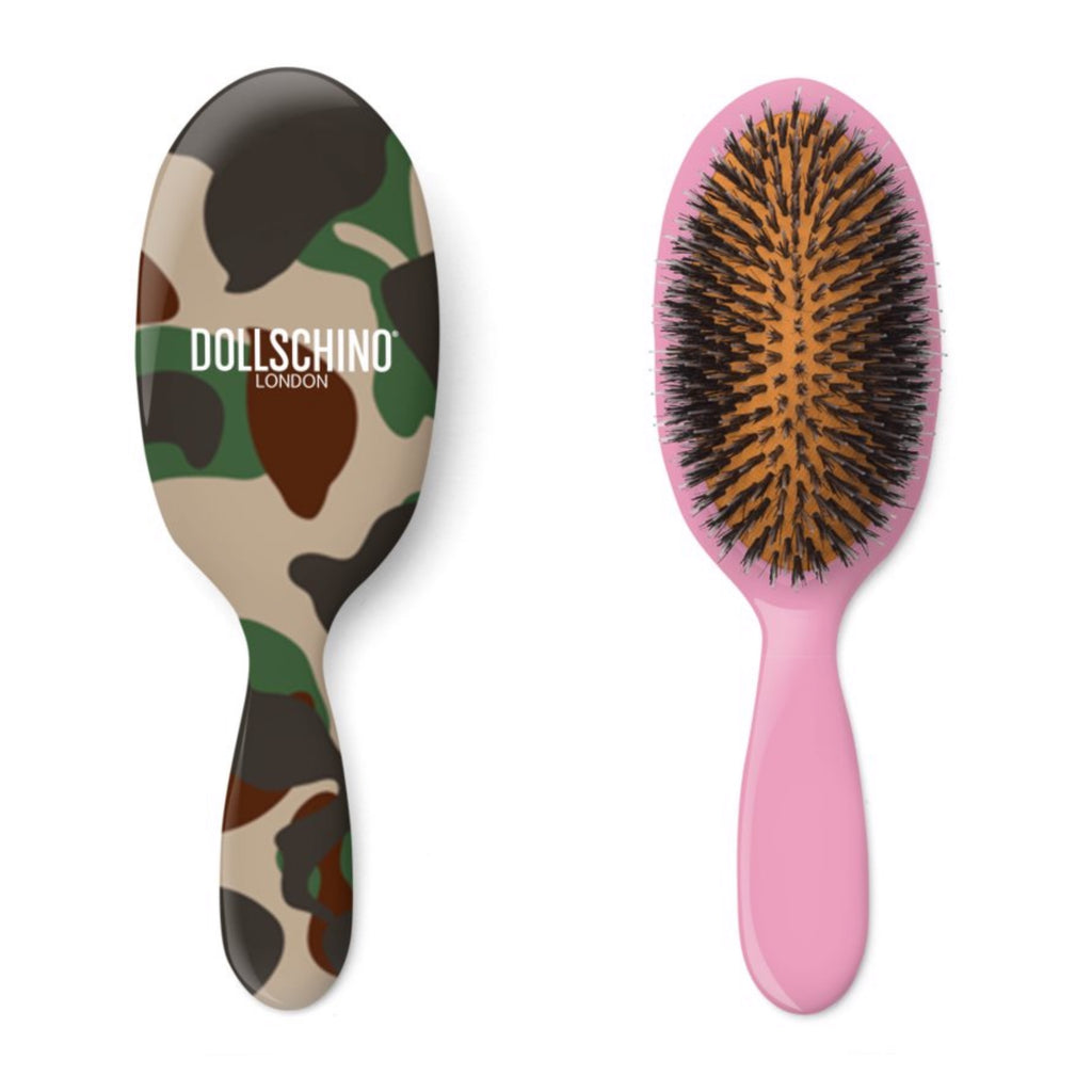 Dollschino London Camo & Baby Pink Hairbrush